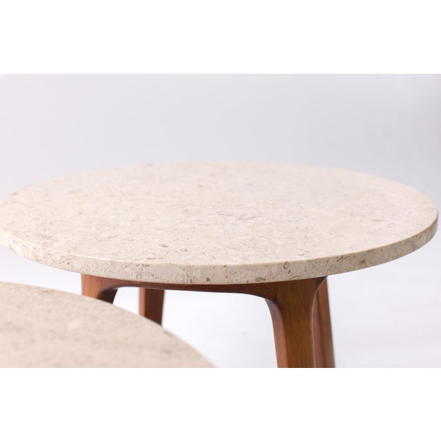 1960s Danish Modern Marble and Walnut End Tables - a Pair For Sale In New York - Image 6 of 9