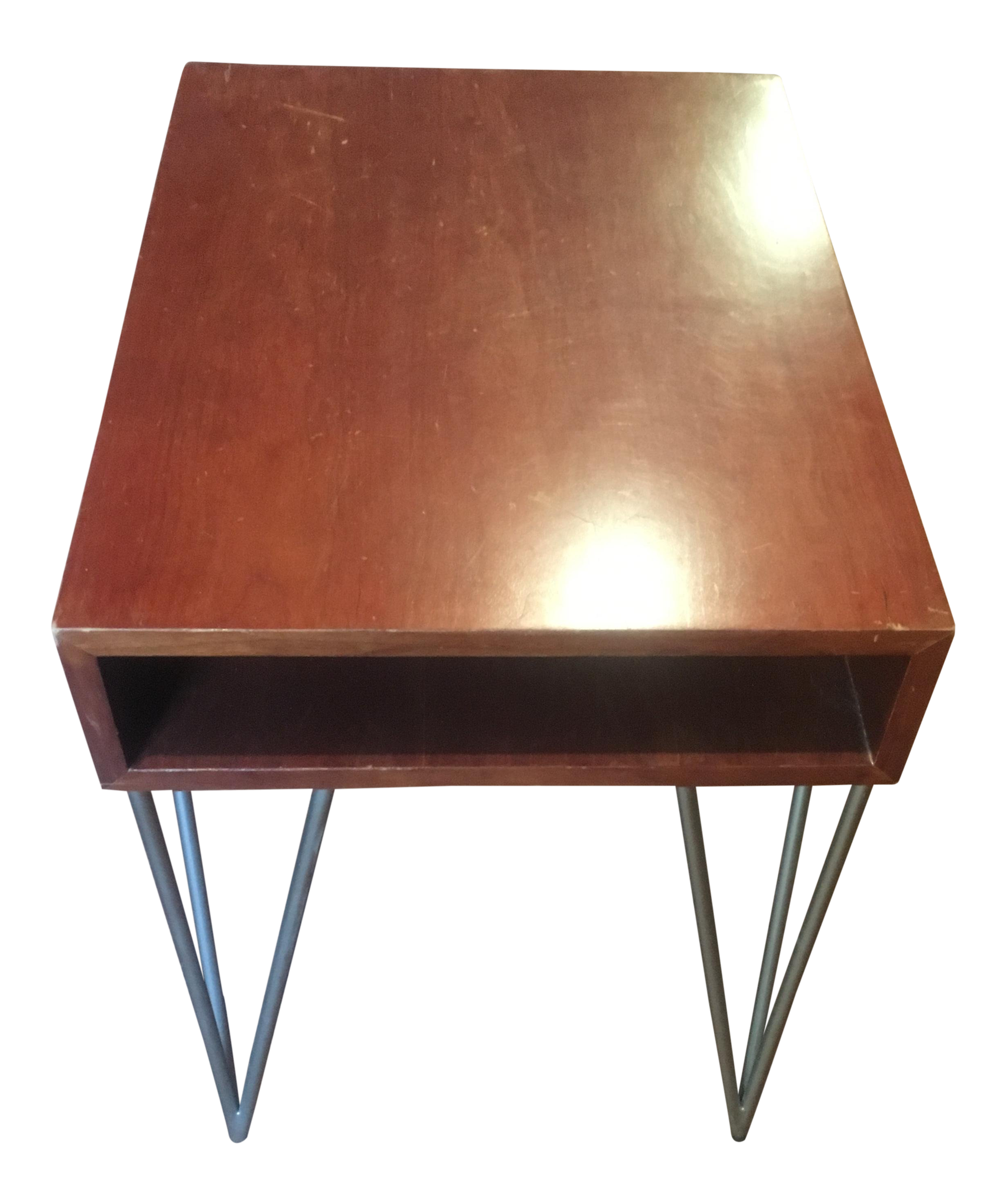 Mid Century Modern Todd Oldham End Table With Hairpin Legs For Sale
