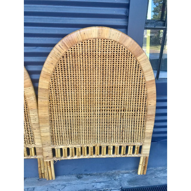 Vintage Rattan Caning Twin Headboards - A Pair - Image 5 of 10