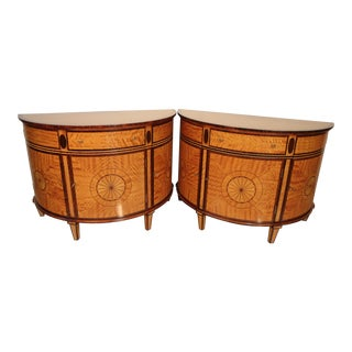 Regency Demilune Satinwood Cabinets-a Pair For Sale