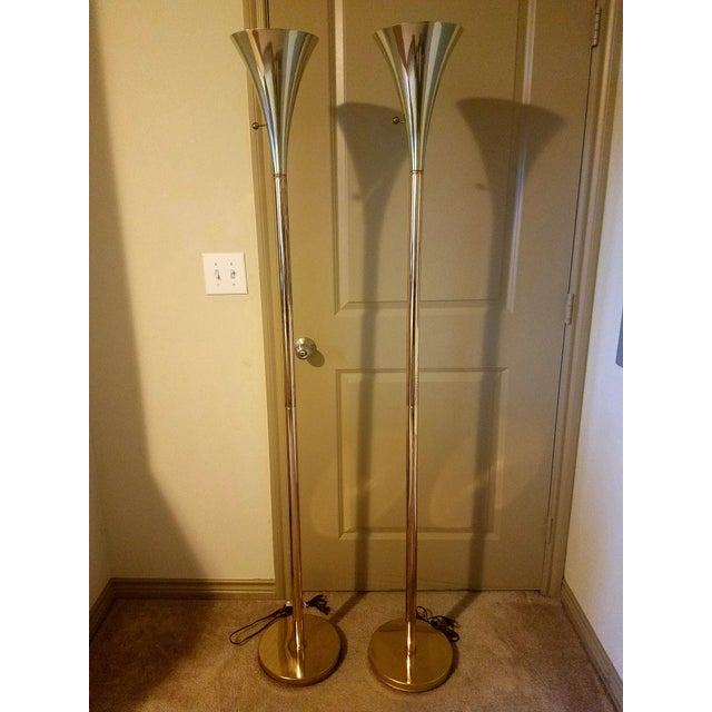 1960s Vintage Laurel Lamp Company Brass Torchiere Floor Lamps - A Pair For Sale In Dallas - Image 6 of 7