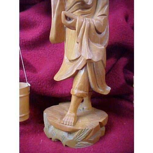 Hand Carved Asian Water Bearer For Sale - Image 4 of 8