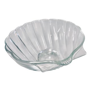 Modernist Style Glass Seashell Dish Bowl For Sale