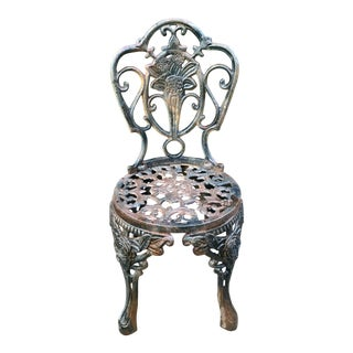 Vintage French Cast Iron Chair For Sale