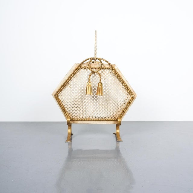 1950s Wrought Iron Magazine Rack Gold White, Germany, Circa 1955 For Sale - Image 5 of 9