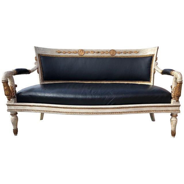 Gold 1800's French Carved and Gilded Settee For Sale - Image 8 of 8