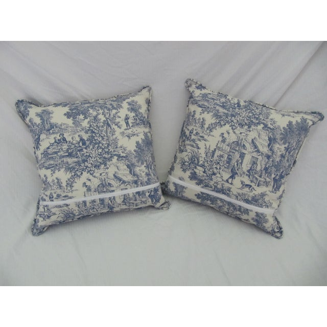 Blue & White Toile De Jouy Pillows - A Pair - Image 5 of 9