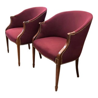 Pair, Club Chairs With Nail Heads