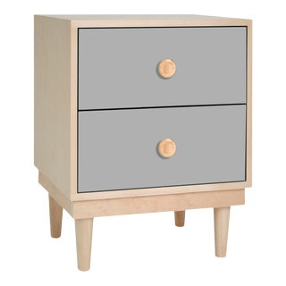 Lukka Modern Kids 2-Drawer Nightstand in Maple With Gray Finish For Sale