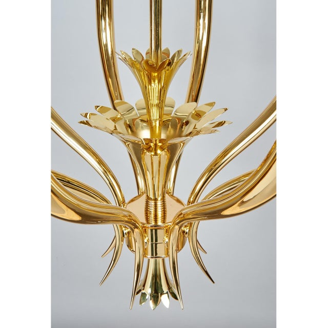 Metal Gio Ponti Important Geometric 8-Arm Chandelier in Polished Brass, Italy 1930s For Sale - Image 7 of 11