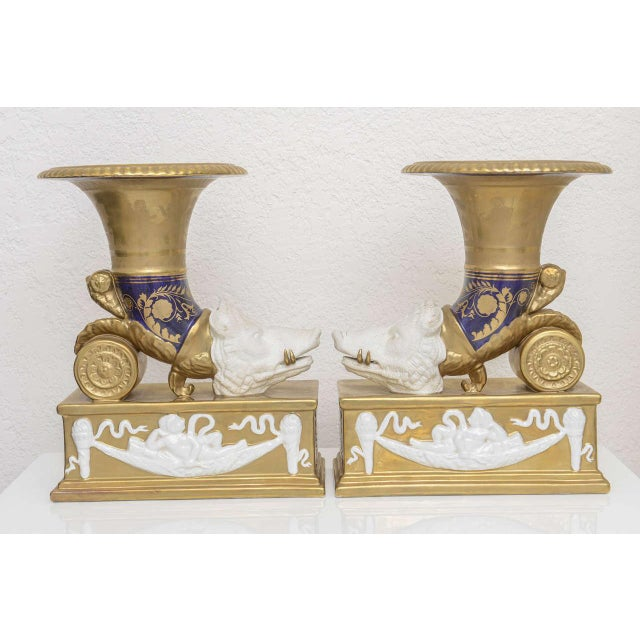 Pair of Neo-Classic Style Cornucopia with Boars: Dresden, Germany, 19th C. For Sale - Image 9 of 11