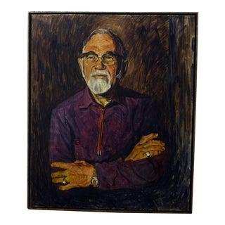 1970s Vintage Oil Portrait Painting For Sale