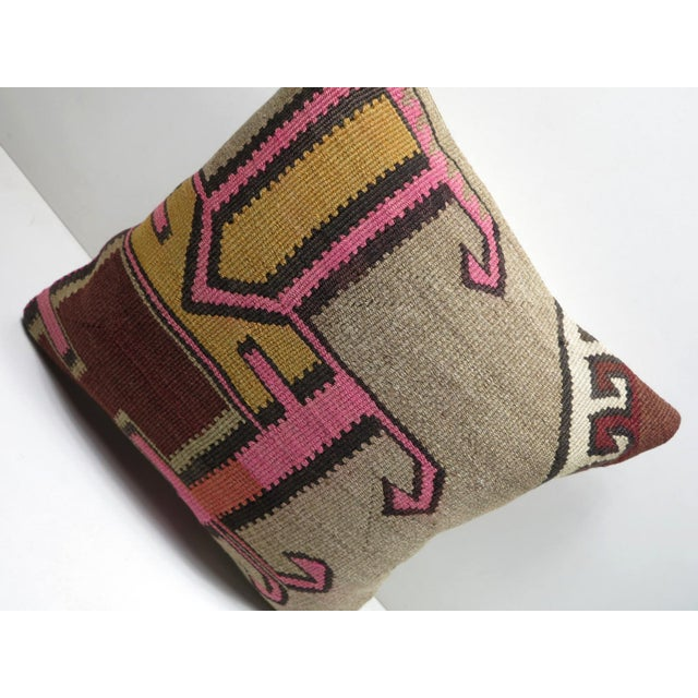 Mid-Century Modern Vintage Turkish Kilim Throw Pillow For Sale - Image 3 of 8