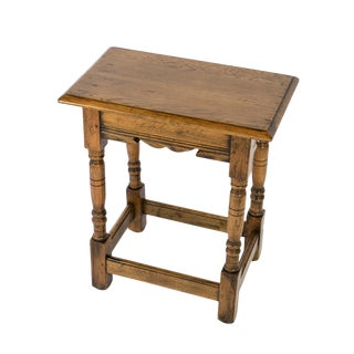 Pale Colored Oak Joint Stool With Box Stretcher, English Circa 1890 For Sale