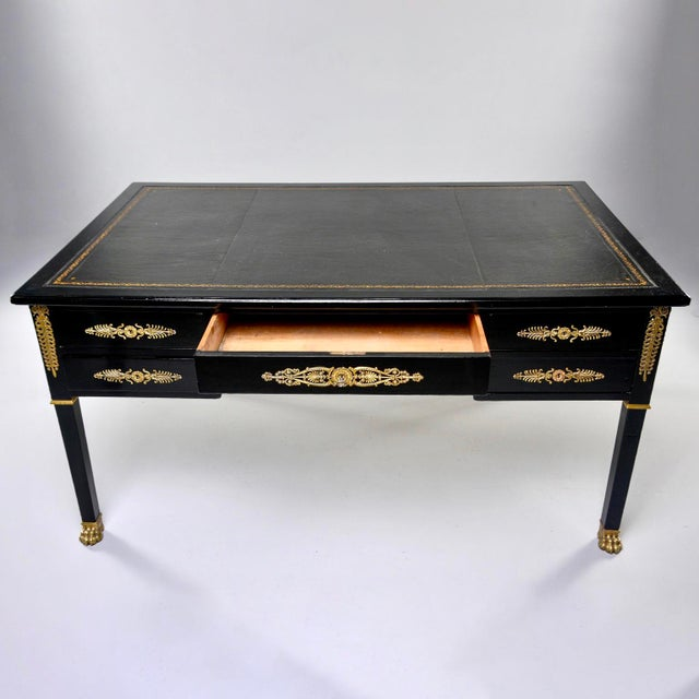 19th C Empire Style Partner's Desk With Orig Brass Fittings and New Leather Top For Sale - Image 12 of 13