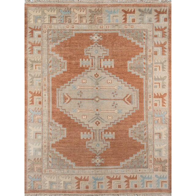"""Brown Erin Gates Concord Walden Rust Hand Knotted Wool Area Rug 5'6"""" X 8'6"""" For Sale - Image 8 of 8"""