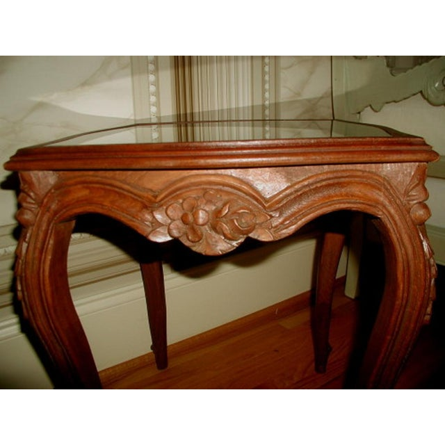 French 19th C. Walnut & Glass Tables - Image 4 of 7