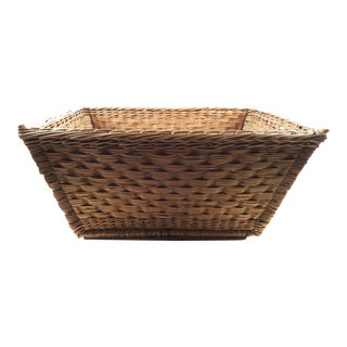 Vintage French Woven Reed Laundry Basket For Sale