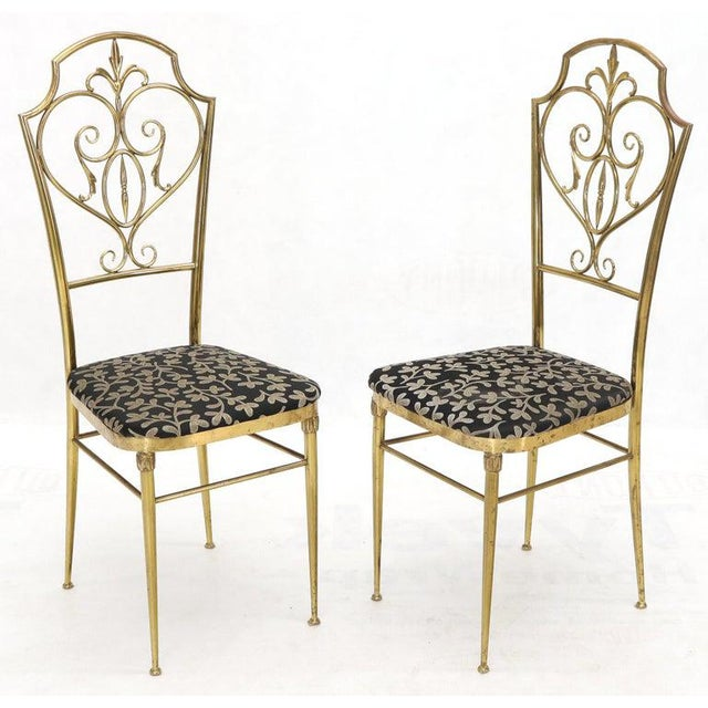 Black Set of 4 Italian Mid-Century Modern Chiavari Brass Chairs For Sale - Image 8 of 12