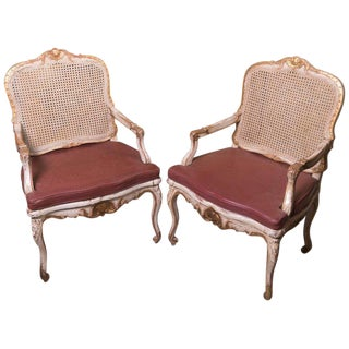 Painted Caned Regence Chairs - a Pair