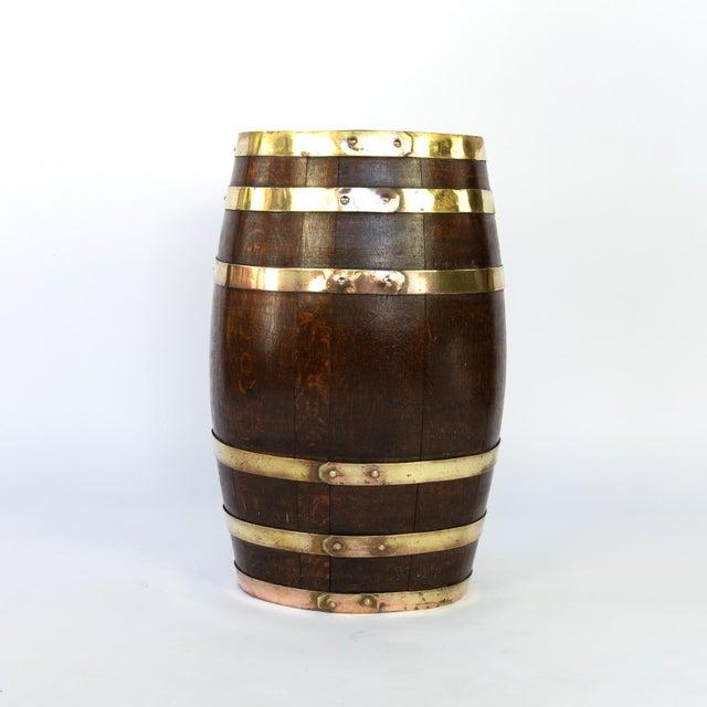 English Brass Bound Oak Barrel, Circa 1890 For Sale - Image 4 of 7