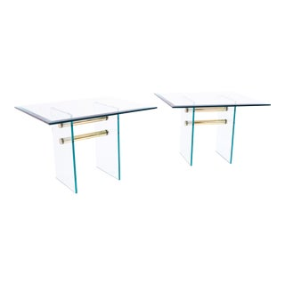 1960s Mid Century Modern Pace Brass and Glass Side Tables - a Pair For Sale