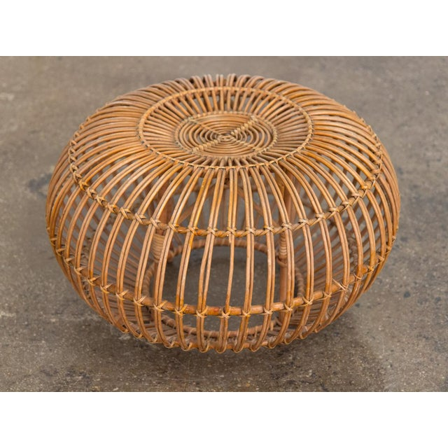 Mid 20th Century Vintage Woven Rattan Ottoman by Franco Albini For Sale - Image 5 of 8