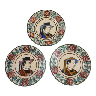 1930s Vintage French Faience Quimper Plates - Set of 3 For Sale