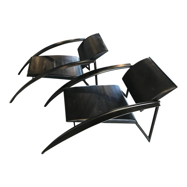 1980s Jean-Louis Godivier Sleek Armchair- A Pair For Sale
