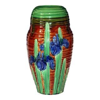Awaji Pottery Art Nouveau Carved Iris Vase For Sale