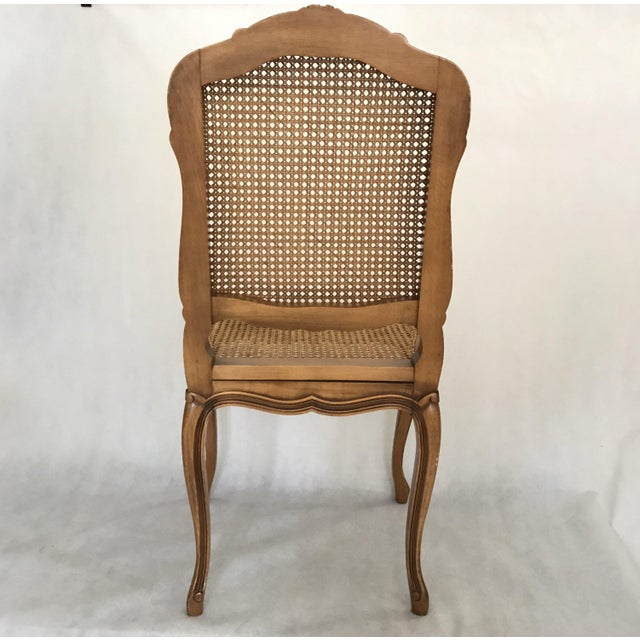 Classic Antique Set of 6 Louis XV Carved Walnut & Caned Dining Chairs For Sale - Image 9 of 13