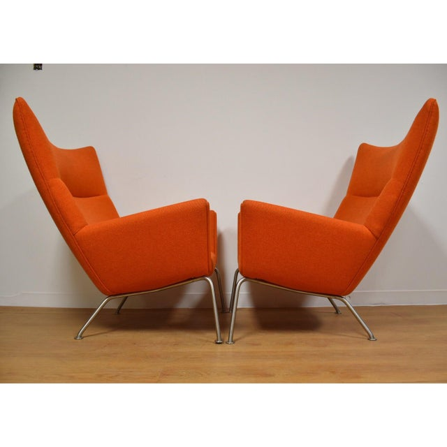 Hans J. Wegner CH445 Orange Lounge Chairs - a Pair For Sale - Image 5 of 10