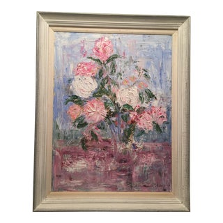 Still Life Floral Glass Vase Oil Painting For Sale