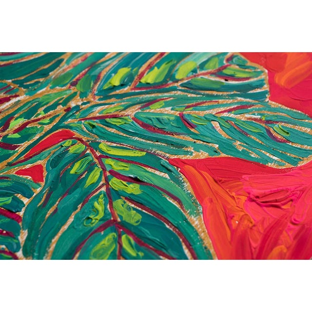 This bright, vibrant and playful gouache and crayon composition on cradled board features a riot of colors and creatures...