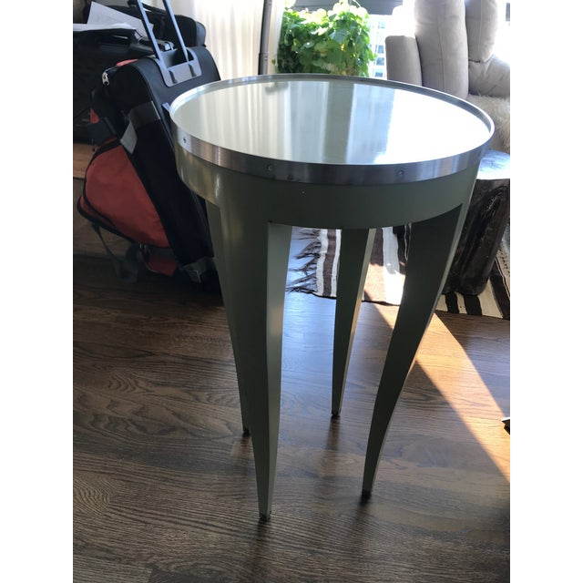 Great side table- Light Green. No top glass and one small chip on top as seen in photo