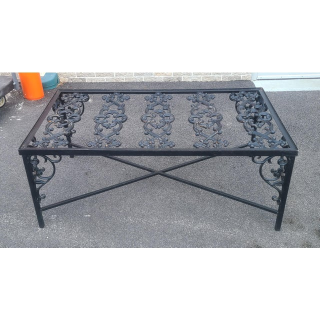 Heavy Wrought Iron Glass Top Coffee Table ~ Fabricated From Old French Gate, 50 X 29.5 ~1990s For Sale - Image 12 of 13