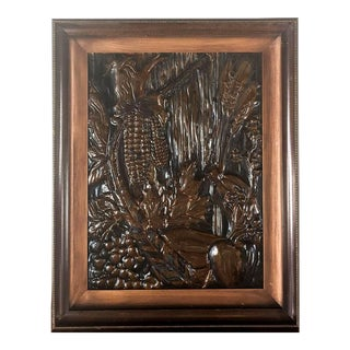 Large Framed Copper Embossed 3D Relief Art of Fruits and Vegetables For Sale