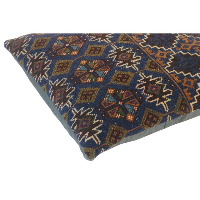 """Asian Enid Blue/Brown Antique Kilim Handmade Throw Pillow(18""""x18"""") For Sale - Image 3 of 6"""
