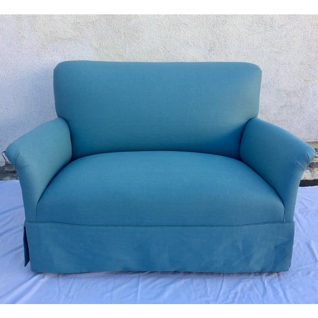 "1930's settee. Newly reupholstered in a muted green/ blue sea foam linen. It's in perfect condition! Seat height: 18"" Arm..."