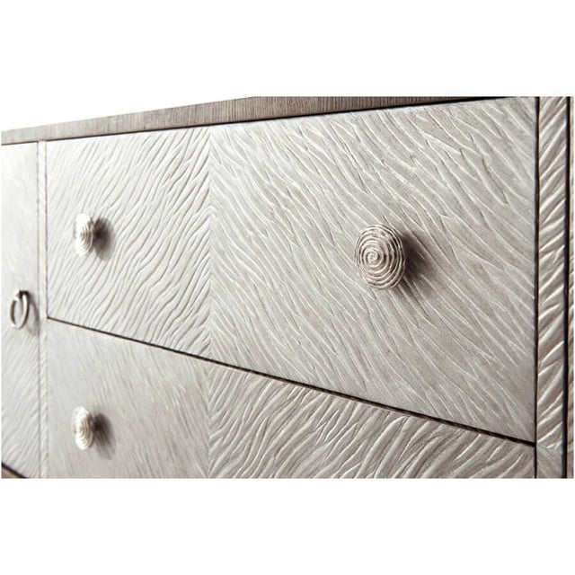 2010s Modern Leather and Oak Console Cabinet For Sale - Image 5 of 8