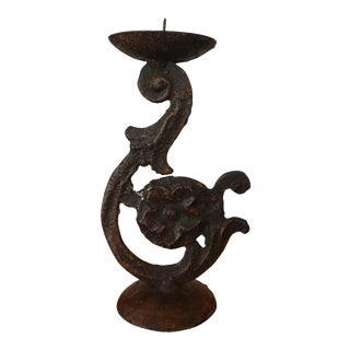 Vintage Ornate Scrolled Iron Candlestick Candle Holder For Sale