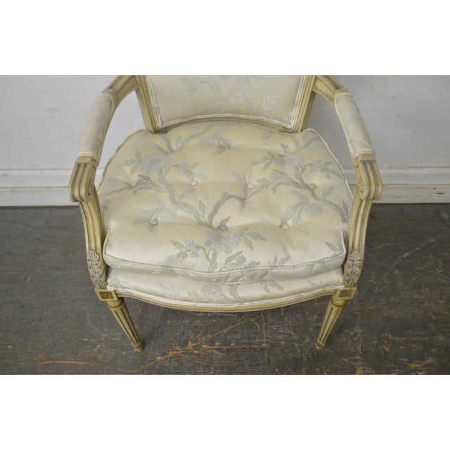 Paint French Louis XVI Style Vintage Custom Paint Frame Fauteuil Arm Chair For Sale - Image 7 of 13