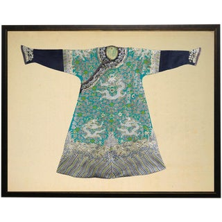 Green & Turquoise Robe in Black & Copper Shadowbox 29x23 For Sale