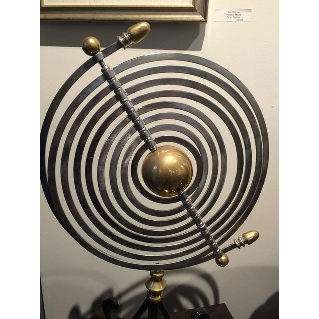 Industrial Chrome and Brass Armillary With Teak and Iron Base For Sale - Image 3 of 7