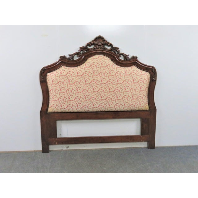 Late 20th Century Rococo Mahogany Carved Queen Size Headboard For Sale - Image 5 of 5