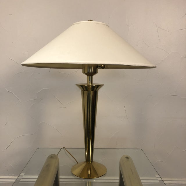 Stiffel Modern Solid Brass Table Lamp with Original Shade For Sale - Image 13 of 13