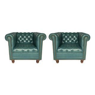 Vintage Teal Tufted Chesterfield Lounge Chairs - A Pair For Sale