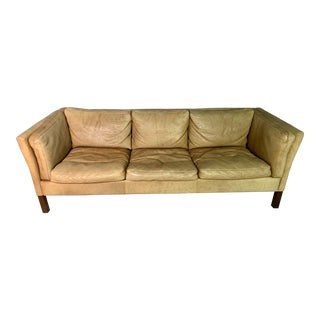 1980s Pale Cognac Patinated Leather 3-Seat Sofa For Sale