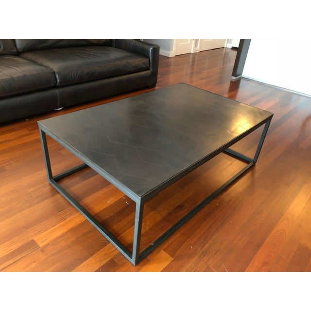 Contemporary Restoration Hardware Metal Parquet Coffee Table For Sale - Image 3 of 6
