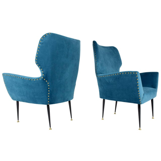 Pair of Italian Mid-Century Vintage Armchairs, 1950s For Sale